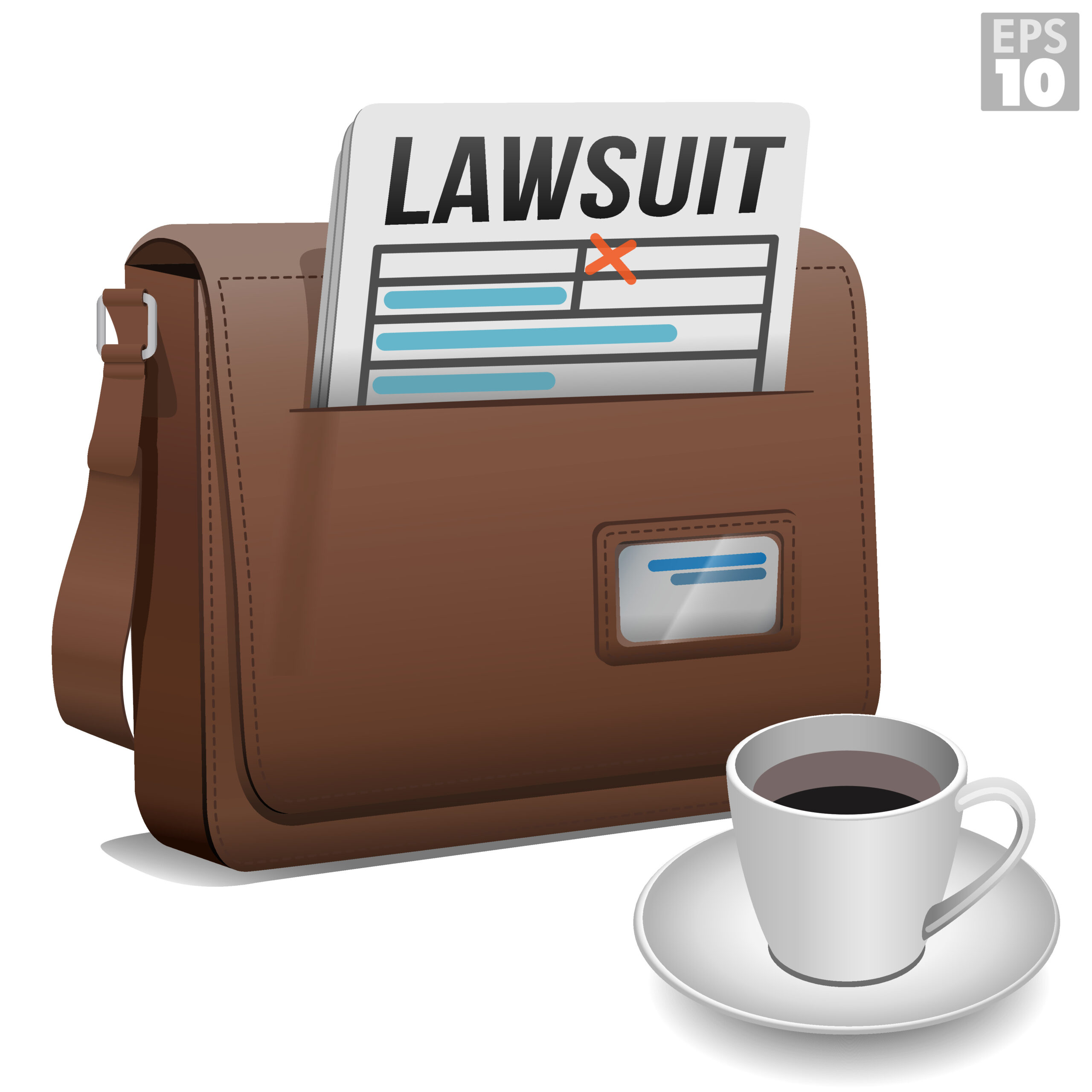 Following legal proceedings for a business lawsuit with cup of coffee to stay calm or relaxed and leather messenger bag.